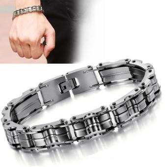 Men's Titanium Stainless Steel Bracelet Motorcycle Bike Chain Bangle Bracelet - intl