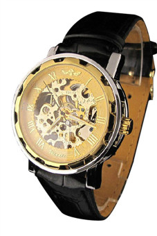 Men's Black Leather Gold Dial Skeleton Mechanical Sport Wrist Watch