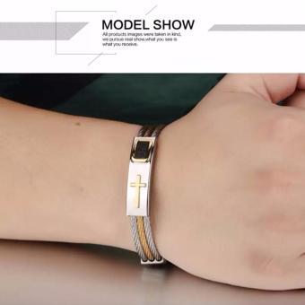 Men's Bracelet 3Rows Wire Chain Bracelets Bangles Fashion PunkStainless Steel Cross Bracelet Men Christian Men Jewelry - 3