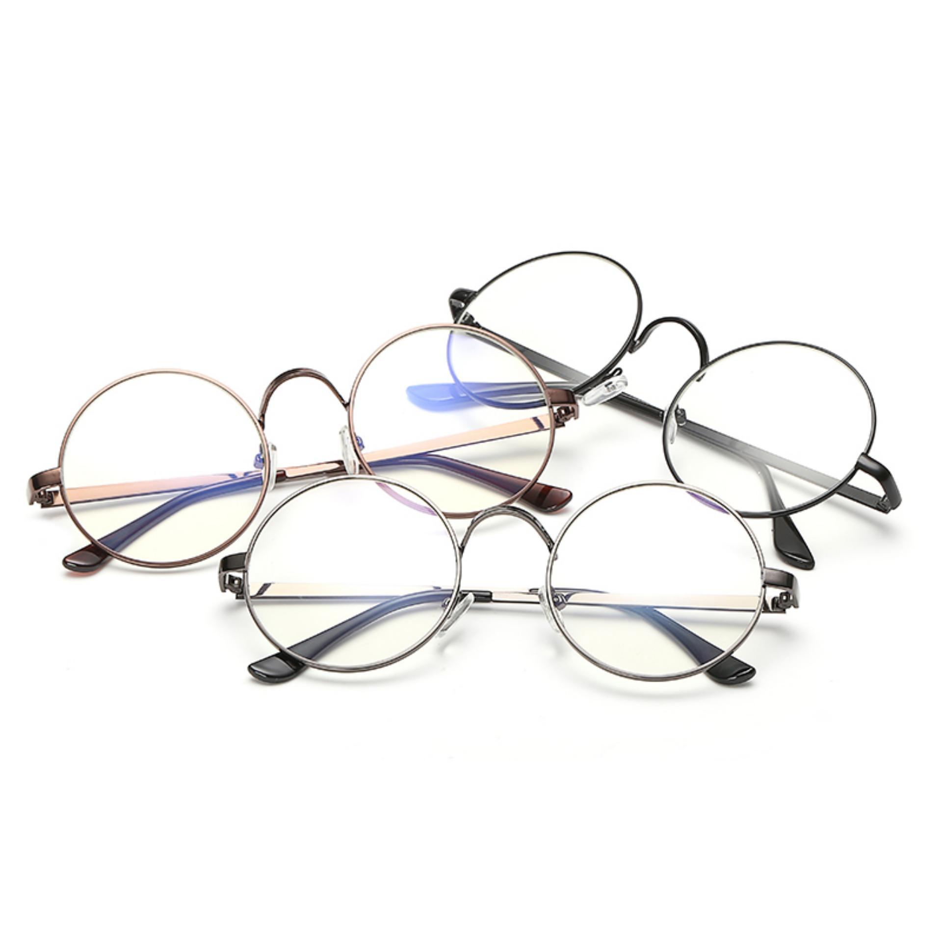... Men's Eyewear Fashion Vintage Retro Round Glasses BrightBlack FrameGlasses Plain for Myopia Men Eyeglasses Optical Frame ...