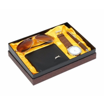 Men's Gift Set - Watch, Wallet, Sunglasses and pen (Brown) Price Philippines
