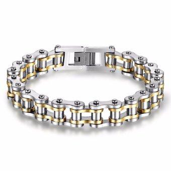 Men's Punk Cool Stainless Steel Bracelets Motorcycle Bicycle ChainBracelets Bangles(Black+Silver) - intl - 4