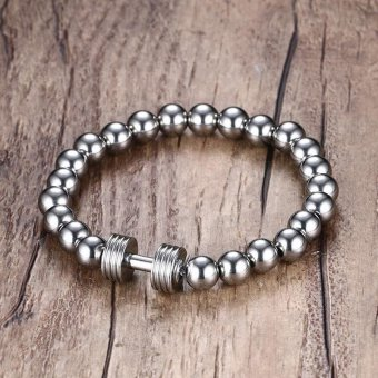 Mens Stainless Steel Silver Dumbbell Charm Bracelet with 8mm BeadsChain Fitness Jewelry Power Gym - intl - 3