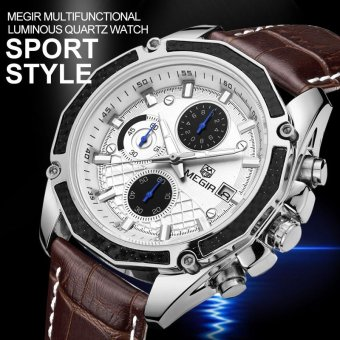 Mens Watches Leather Quartz-watch Chronograph Sport Men Wrist Watch- intl