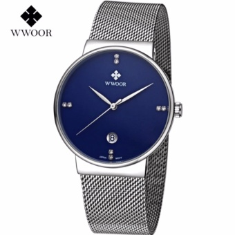 Men's Watches Top Brand Luxury Stainless Steel Mesh Strap CasualWatch Men Ultra Thin Quartz Date Black Clock Male Waterproof SportWatch - intl - 2