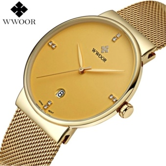 Men's Watches Top Brand Luxury Stainless Steel Mesh Strap CasualWatch Men Ultra Thin Quartz Date Black Clock Male Waterproof SportWatch - intl