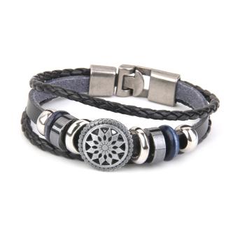 Men's Women Handmade Leather Bracelet Vintage Engraved Bangles Wristband - picture 2