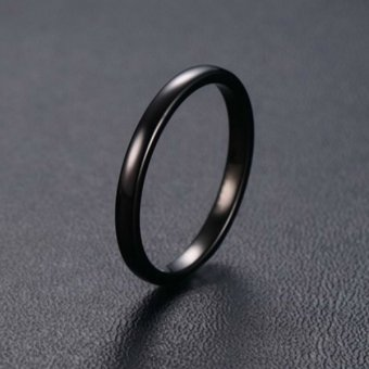 Mens Womens Tungsten Steel Ring 2mm Comfort Fit Band Black