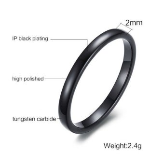 Mens Womens Tungsten Steel Ring 2mm Comfort Fit Band Black - 2