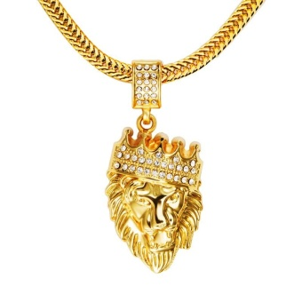 Mens' Hip Hop Jewelry Iced Out Gold Plated Fashion Bling Bling Lion Head Pendant Men Necklace Gold Filled for Gift Present - intl