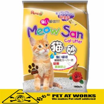 Meow San Absorbent Cat Litter (10L) Rose Scent For Pets and CatsLitter