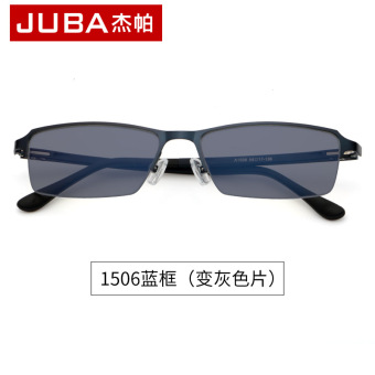 Metal anti-UV business half frame near-sighted mirror color changing glasses
