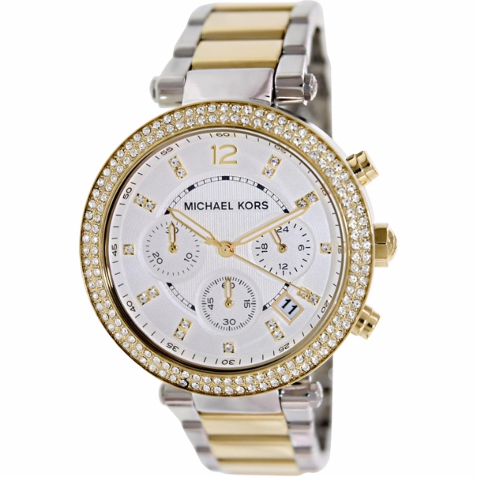 45480ef21e7d ... Michael Kors Parker Glitz Silver Dial Two-tone Ladies Watch MK5626 ...