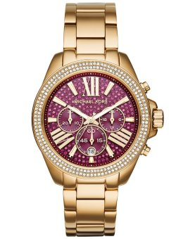 Michael Kors Wren Fuchsia Crystal Pave Women's Gold-Tone Stainless Steel Chronograph Watch MK6290
