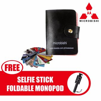 Microbishi Wallet Holder Pocket Business ID Credit Card CaseColorful Purse Coin bag Pouch (Black) with free Selfie StickIntegrated Foldable Smart Shooting Aid Monopod Apple iPhone/AllSmartphone (Color May Vary)