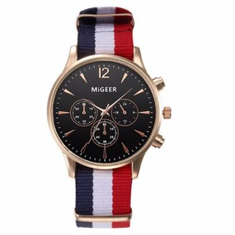 Migeer Nylon Strap (BLACK DIAL RED AND WHITE STRAP)Excellent Quality 2016 Outdoor Mens Watch Stainless Steel Military Sports Analog Quartz Army Man Watch Montre Homme Relojes