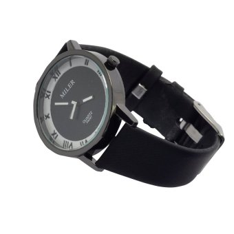 Miler 1020 Roman Style Leather Watch (Black) #127 - 2