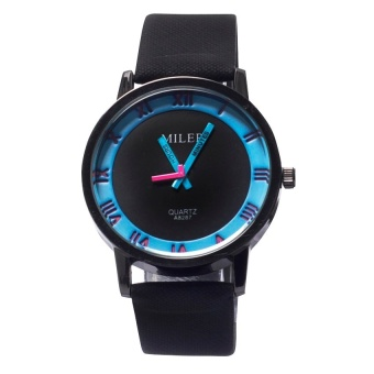 Miler 1020 Roman Style Leather Watch (Blue) #0127
