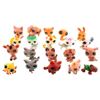 MINI 20-piece Lot Littlest Pet Shop Cute Cat Duck Pig Small ToysAnimal Figures - intl