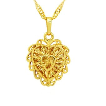 MoNo 24K Gold Plated Fine Hollow Heart Pendant Necklace (Gold)
