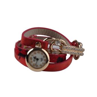 Moonar Women Rhinestone Wrap Multilayer Bracelet Wrist Watch Red