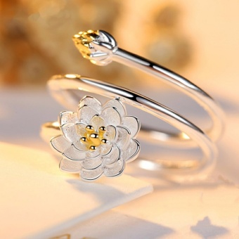 Moonstone Innovative Lotus Blossom Flower Ring in Sterling Silver -intl Price Philippines