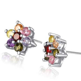 Morning Star MS355S 92.5 Silver Multi-color Stone Stud Earrings