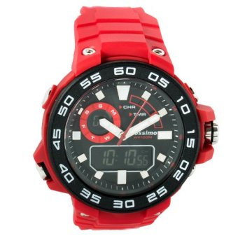 Mossimo Compass Men Silicone Strap Watch MS-1509G-RED (Red)