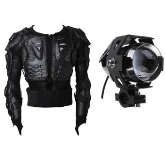 Motocross Racing Motorcycle Armor Protective Jacket Medium (Black)With U5 LED Motorcycle Head Light Driving Spot Fog Lamp 125W 3000LM