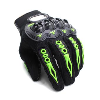 Motor Craze Racing Biker Motorcycle Full Finger Protective GearGloves( Green) - 2