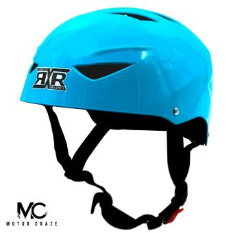 Motor Craze RXR Half Face Crash Safety Plain Passenger Helmet (SkyBlue)