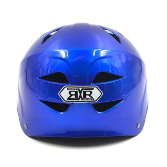 Motor Craze RXR Half Face Crash Safety Plain Passenger Helmet(Royal Blue) - 2
