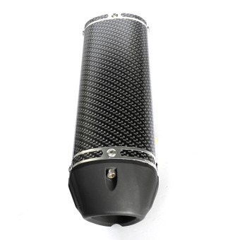 Motorcycle Exhaust Muffler w/ Movable Silencer Carbon Fiber Color Scooter Metal - 4