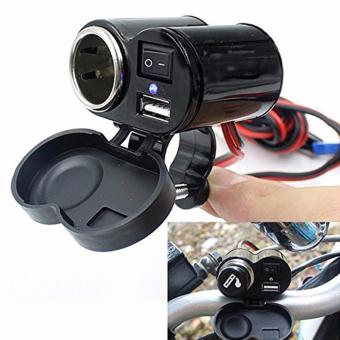motorcycle USB Charger Waterproof 12-24V Integrated Power AdapterCar Cigarette Lighter Socket with Switch (MODEL yf-122 2in1) black