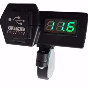 Motorcycle USB Charger with Digital Voltmeter(Blue LED)