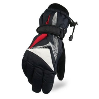 Motorcycle Warm Waterproof Cold Wind Warm Ski Riding Gloves(Red) - intl