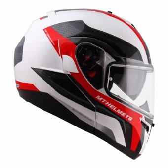 MT Modular Helmet with Dual Visor OPTIMUS GD 162 (White/Red)