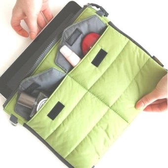 Multi-functional Gadget Pouch Bag in Bag Handbag Travel Storage BagOrganizer for iPad /Tablets (Green)