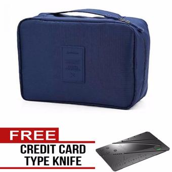 Multi-Pouch Travel Toiletry Cosmetic Bag (Navy Blue) Free CreditCard Type Knife