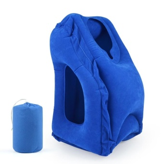 Multifunction Inflatable Air Travel Pillow Airplane Office Desk NapPillow Blue - intl