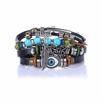 Multilayer Leather Braccelet Beads Feather Evil Eye Charm BraceletAdjustable Ethnic Punk Bracelet For Men Wrap Turkish Jewelry - intl