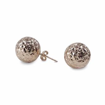 MyGold 14K Italian Rose Gold Balls Diamond Cut Stud Earrings, 6mm