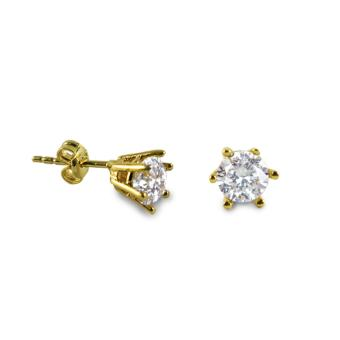 MyGold 18K Saudi Gold 0.66 Carat Cubic Zirconia Solitaire Stud Earrings