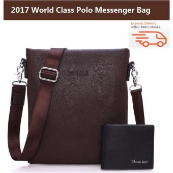 MYWALS Polo Bag Mens Messenger Bag High Quality Famous Brand Design Men Shoulder Bag Casual Business Leather Vintage Fashion Polo Cross Body Bag