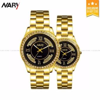 NARY 1002 Lover's Fashion Steel Strap Quartz Watch (Gold+Black)