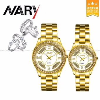 NARY 1002 Lover's Fashion Steel Strap Quartz Watch (Gold+White)With S925 Couple Rings(ONE SIZE)/ J040 Couple Rings(ONE SIZE)
