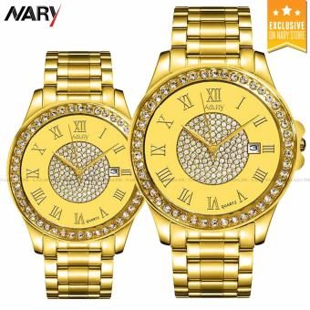 NARY 1006 Couple's Fashion Steel Digital scale Strap Quartz Watch (Gold)