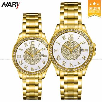 NARY 1006 Lover's Fashion Steel Digital scale Strap Quartz Watch (Gold+White)