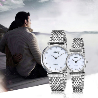 NARY 1907 Couple Stainless Steel Strap Watch(Silver)
