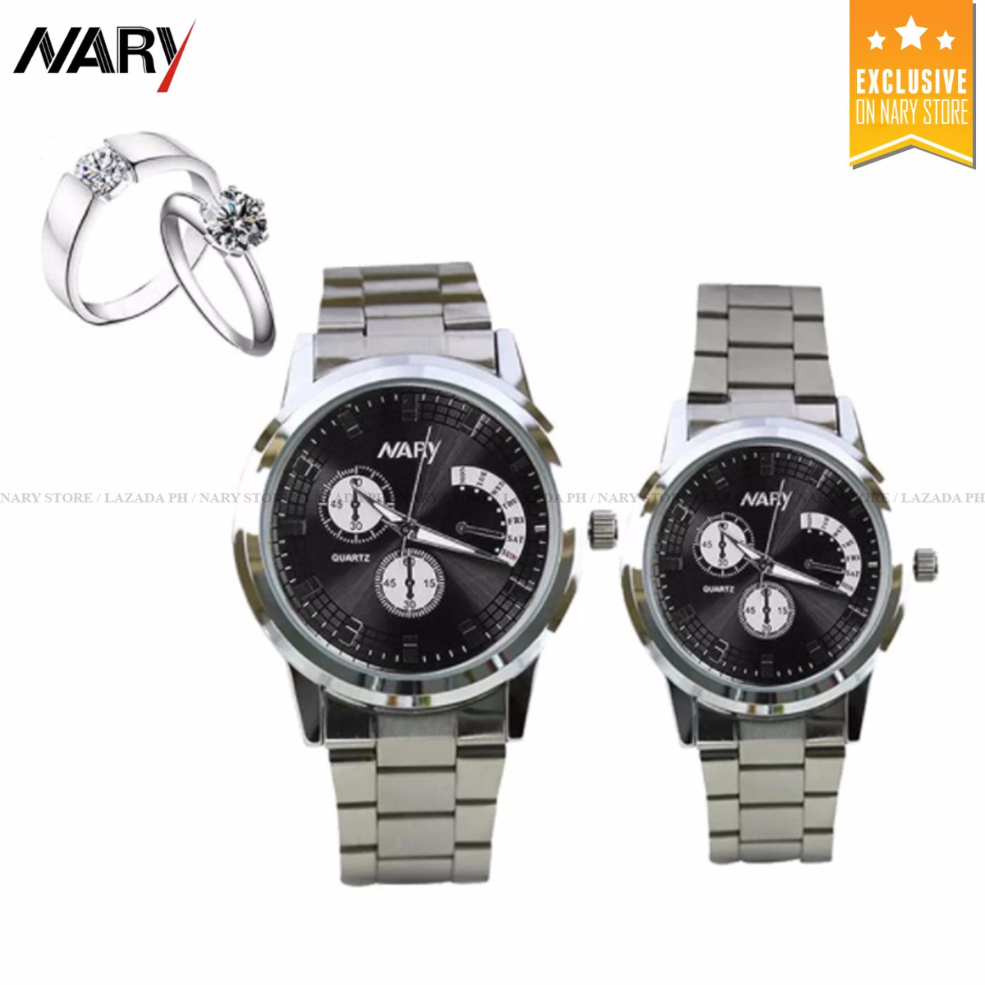 Home; Jewellery; Watches. NARY 6017 Couple's Fashion Stainless Steel Strap Wristwatch (Silver/Black) with Free E013